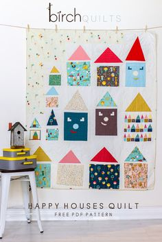 = free pattern = Happy Houses Quilt by Rossie Hutchinson   Birch Fabrics