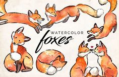 Watercolor Fox Clipart. Art watercolor illustrations for businesses like blogging, graphic design, wedding invitations. More #fox #watercolor #illustrations for your #brand you can download here ➝ https://creativemarket.com/graphics/illustrations?u=BarcelonaDesignShop
