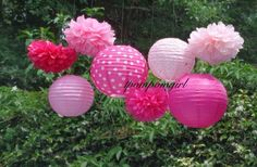 Tickled Pink   4 Tissue Paper Pom Poms/4 Decorated Paper Lanterns Baby Shower, Birthday, Wedding Shower, Bridal Shower, Nursery Decor