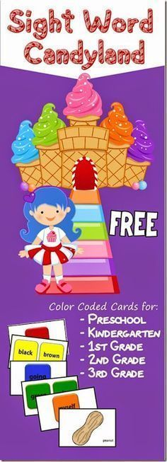 FREE Candyland Sight Word Games with grade specific cards for Preschool Kindergarten Grade Grade and Grade Dolche sight words GREAT RESOURCE homeschool langua. Teaching Sight Words, Sight Word Practice, Sight Word Activities, Reading Activities, Teaching Reading, Guided Reading, 2nd Grade Reading Games, Close Reading, Sight Words For Preschool