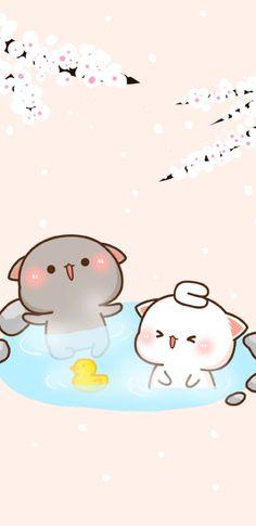 Cute Anime Cat, Cute Bunny Cartoon, Cute Cartoon Images, Cute Kawaii Animals, Cute Animal Drawings Kawaii, Cute Cartoon Wallpapers, Iphone Wallpaper Cat, Cute Panda Wallpaper, Cute Pastel Wallpaper
