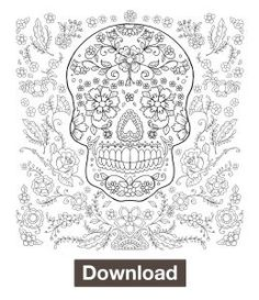 day of the dead coloring page adult coloring book