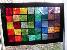 Colorful Stained Glass Panel with  rainbow of colors black boarder rectangular panel via Etsy