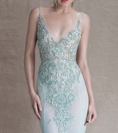 Paolo Sebastian - Sirens of the Sea. Stunning Illusion teal / blue / turquoise beaded chiffon wedding dress