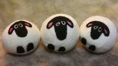 3 Wool Dryer Balls, Sheep, Black & White, Set of 3, Eco Friendly, Natural, Farm Animals