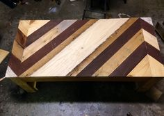 Cool table with more scrap, random pieces of old barn boards, old salvaged mahogany decking, etc....