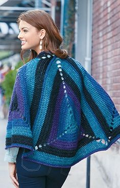 Give the granny square a modern look with the fashions and afghans in Granny Squares Reimagined from Leisure Arts, featuring Lion Brand Heartland!