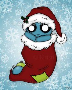 'Stocking Stuffer'- an unluckable ready for Christmas #unluckables #unluckable #unlucky #luckycharm #monster #creature #voodoodoll #voodoo #creepycute #skull #lowbrow #lowbrowart #bigeyes #bigeyedart #digitalpainting #digitalart #art #painting #artprint #print #Christmas #christmasstocking #hollyberry #snow #snowflakes