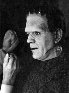 "monsterman: "" Boris Karloff on the set of Son of Frankenstein (1939) """