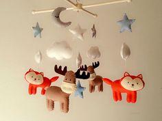 Bébé berceau mobile, forêt mobile, mobile, animal sentait mobile « bonne nuit » - Moose, Fox, lune, étoiles