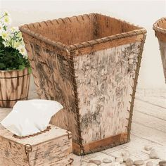 Birch Bark Square Waste Basket