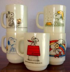Vintage Anchor Hocking Fire King Snoopy Mug Curse You Red Baron Milk Glass LOT
