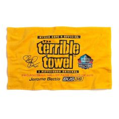 Pittsburgh Steelers Jerome Bettis Hall of Fame Terrible Towel Steelers Terrible Towel, Jerome Bettis, Football Hall Of Fame, Pittsburgh Steelers