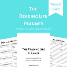 This printable planner is for the planner girl who is also passionate about her reading life. The Reading Life Planner has 77 pages to print and build into a unique-to-you planner for your reading life. Perfect for setting reading goals, keeping trac Book Log, Reading Logs, Calendar Pages, Reading Challenge, Journal Prompts, Life Planner, Printable Planner, Textbook, Nonfiction