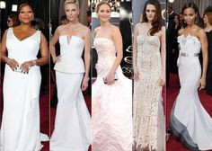 Oscar 2013 fashion trends: White dresses - Pristine frocks stood out on the Oscar red carpet with Best Actress Jennifer Lawrence and Charlize Theron in Dior, Kristen Stewart in Reem Acra, Queen Latifah in Badgley Mischka, and Zoe Saldana in Alex Mabille.