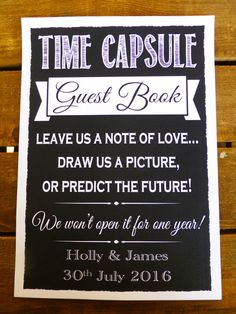 TIME CAPSULE GUEST BOOK sign personalised chalk style print guest book WEDDING