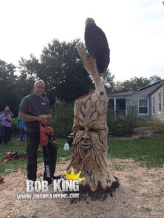 Greenman sculpture chainsaw carving by Bob King www.chainsawking.com