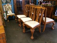 Blonde Claw Foot Chair   Eight Available  $375 Each   Dealer #9543  Lucas Street Antiques Mall 2023 Lucas Dr.  Dallas, TX 75219  Located close to Dallas' Design District within walking dis