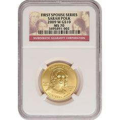 2009-W First Spouse Sarah Polk Half Ounce Gold Coin MS70 NGC