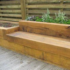 Timber sleeper seating   landscape timber flower beds   Pinterest ...
