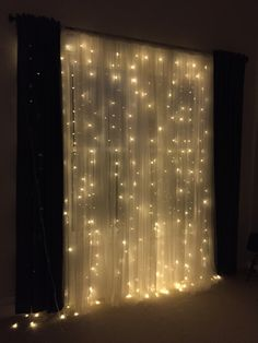 Bedroom decor..........I just love the romantic look curtain lights bring