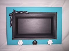 "14.75""X10.25"" Solid Wood Teal Chalkboard Organizer w/ Decorative Knobs and Ribbon Accents by Marlo Custom Creations on ETSY"