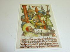 "vintage unused  greeting cards  ARS SACRA   B.I.Hummel ""happy new year""451"""