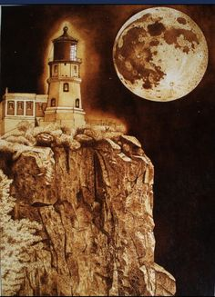 lighthouse communing with moon