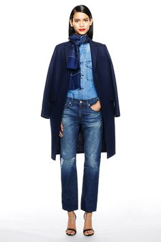 J. Crew, ripped boyfriend jeans, denim shirt, scarf, navy coat