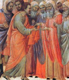 Duccio di Buoninsegna - Maestà - Retro - Tradimento di Giuda, dettaglio - 1308-11 - Tempera e oro su tavola - Museo dell'Opera del Duomo, Siena