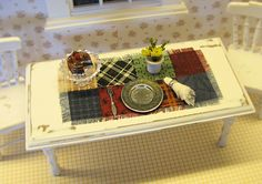 Dollhouse Table Runner / Miniature Table Topper / Dining Table