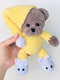 Pajamas teddy bear will bring sweet dreams to any child. This free crochet pattern is easy to make amigurumi toy. You will need plush yarn and 4 mm crochet hook. Crochet Bow Pattern, Crochet Bows, Crochet Teddy, Crochet Animal Patterns, Stuffed Animal Patterns, Cute Crochet, Crochet Animals, Crochet Crafts, Crochet Projects