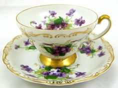 Norcrest Sweet Violet vintage TEA CUP & SAUCER Purple White Gold Japan