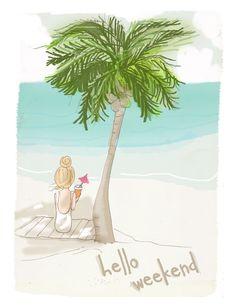 Wall Art for Women – Under the Palm Trees- Wall Art Print – Digital Art Print – Wall Art — Print – Art Sanat Hello Weekend, Bon Weekend, Happy Weekend, Friday Weekend, Tree Wall Art, Illustrations, Weekender, Fine Art Paper, Palm Trees