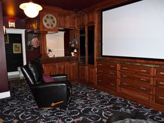 theater room with kitchenette & powder room