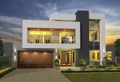 Modern One Story House with 2 bedrooms, 2 bathrooms suitable for small family to medium size house designed in Modern House style resort. The emphasis is on the modern style and the layout of the home [. Two Story House Design, House Front Design, Small House Design, Modern House Design, Home Design, Design Ideas, Design Exterior, Facade Design, Modern Exterior