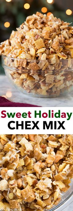 Sweet Chex Mix - it's loaded with crunchy cereal, dotted with mixed nuts, and swirled with coconut. Then it's covered with an ooey gooey sweet and sticky coating. Trail Mix Recipes, Snack Mix Recipes, Snack Mixes, Candy Recipes, Cereal Treats, Holiday Recipes, Christmas Recipes, Christmas Desserts, Holiday Snacks