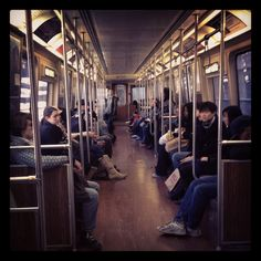 Riding on the T in Boston, MA