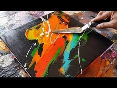 (4166) Abstract painting / Palette knife / Acrylics / Easy / Demonstration - YouTube