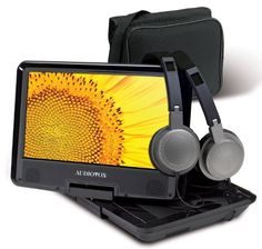 """Audiovox DS9341 PK 9-Inch Portable DVD Player by Audiovox. $101.97. Watch your favorite movies on the go with the Audiovox  9"""" Swivel Portable DVD Player with Mount Kit! The 7-inch TFT display, rotates 270 degrees for comfortable viewing anywhere.  The Internal rechargeable battery allows you to enjoy two full hours of playback time.  Plus this portable DVD player has a 16:9 aspect ratio so you have a full screen viewing experience.. Save 32%!"""