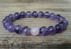 Amethyst and rose quartz bracelet february birthstone bracelet