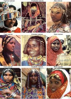 "deafmuslimpunx: "" thisisnotafrica: "" erifresh: "" These 9 women represent the 9 official tribes of Eritrea. They each have different languages they speak, music they play, clothes they wear, foods that are seen as special ( yes its true not everyone. African Tribes, African Women, African Culture, African History, We Are The World, People Around The World, Horn Of Africa, Africa Map, Eritrean"