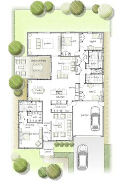 floor plan, I love everything but the master suite at the front door. Have to modify the plan for sure. Dream House Plans, House Floor Plans, My Dream Home, The Plan, How To Plan, Sims House, Architecture Plan, House Layouts, Bungalows