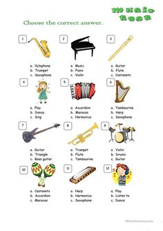This is a short test for checking the vocabulary related to music. There are three posible options to choose (a, b, c). Students need to read and circle the correct. Preschool Music Activities, Kindergarten Music, Kindergarten Worksheets, Classroom Activities, Music Lesson Plans, Music Lessons, Grammar Lessons, Music Worksheets, Piano Teaching