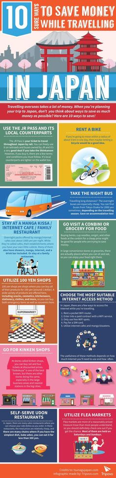 10 Smart Ways To Save #Money In #Japan - Do you fancy an infographic? There are a lot of them online, but if you want your own please visit http://www.linfografico.com/prezzi/ Online girano molte infografiche, se ne vuoi realizzare una tutta tua visita ht