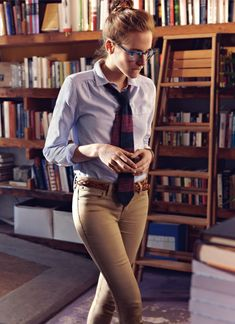 """so nerd chic...from a """"hot librarian"""" board. I would wear something similar to this...minus the tie."""