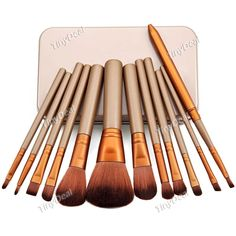 12pcs High Quality Synthetic Hair Professional Makeup Brushes Set with Metal Box BBI-351696