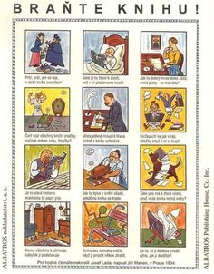 """A poster by Josef Lada and Jiří Mahen. """"Save a book! New Books, Good Books, Inspirational Books, Book Authors, Things That Bounce, The Past, Funny Pictures, Jokes, The Incredibles"""
