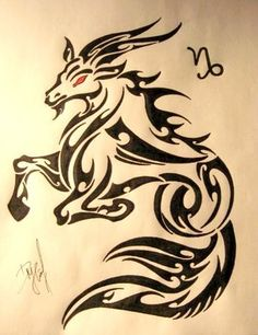 Brilliant Tribal Capricorn Tattoo Stencil With Red Eyes Capricorn Sign Tattoo, Capricorn Art, Zodiac Sign Tattoos, Zodiac Signs, Capricorn Rising, Tribal Arm Tattoos, Body Art Tattoos, Sleeve Tattoos, Tatoos