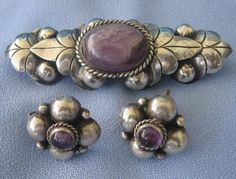 Brooch & Earrings | Artist ?.  Silver and amethyst.  ca. 1930s/40s, Mexico